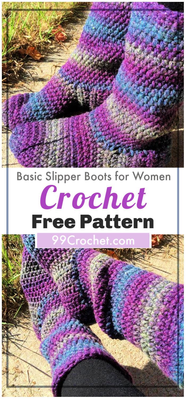Basic Slipper Boots for Women Free Crochet Pattern