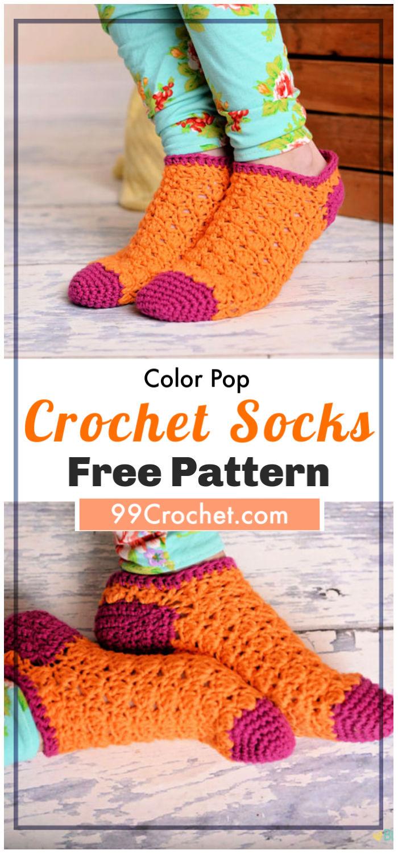 Color Pop Socks Free Crochet Pattern