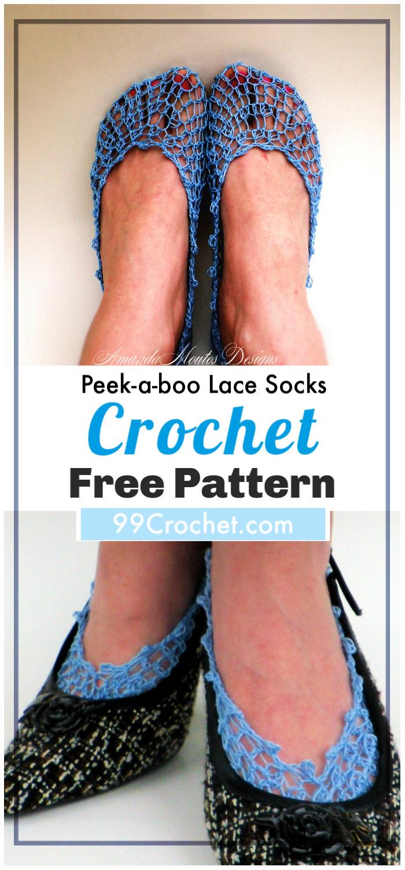 Crochet Peek a boo Lace Socks Free Pattern