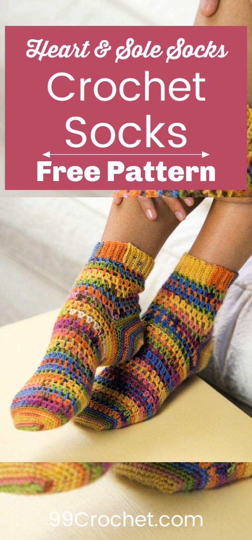 Free Red Heart Crochet Heart Sole Socks