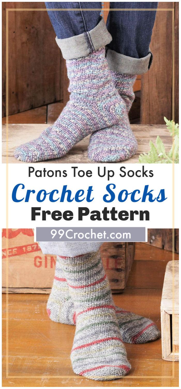 Patons Toe Up Socks Free Crochet Pattern