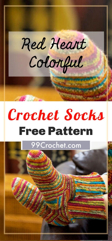 Red Heart Colorful Crochet Socks