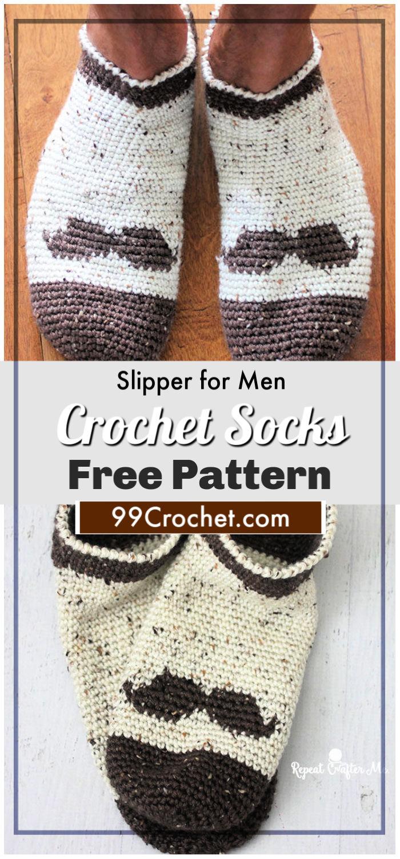 free crochet mustache slipper socks